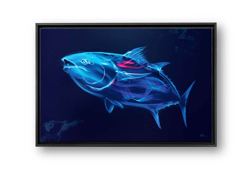 Captivating bluefin tuna smoke art canvas print with black floating frame hung on the wall of home, office, living room or bedroom