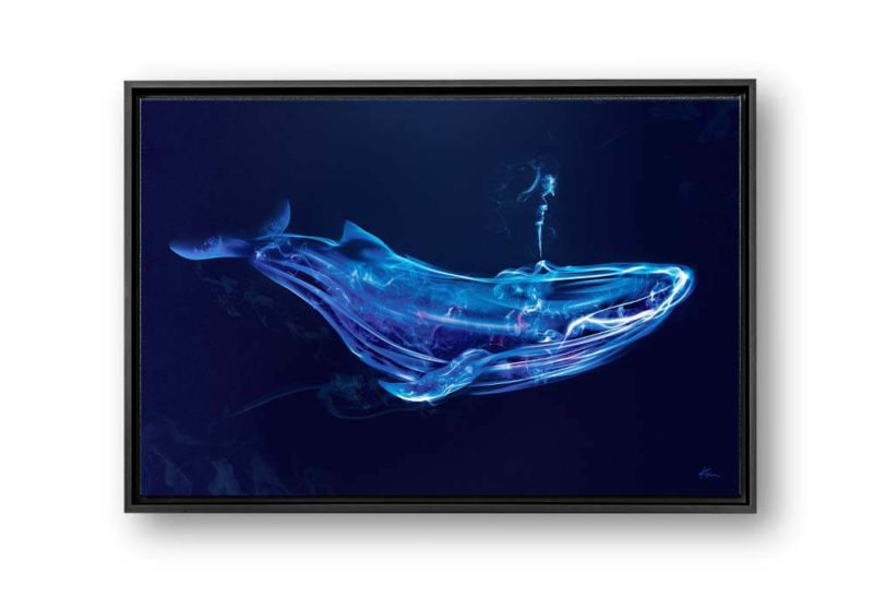 Captivating blue whale smoke art canvas print with black floating frame hung on the wall of home, office, living room or bedroom